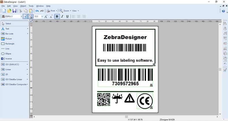 صفحه اصلی نرمافزار طراحی برچسب ZebraDesigner